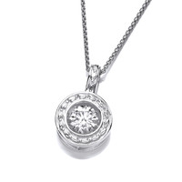 Silver and Dancing CZ Round Garland Pendant