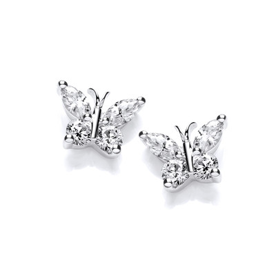 Cute Silver & Cubic Zirconia Butterfly Earrings