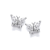 Cute Silver and CZ Butterfly Earrings