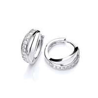 Silver and Cubic Zirconia Band Hoop Earrings