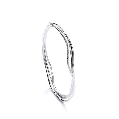 Delicate Silver 3 Ring Bangle