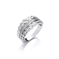 Silver and CZ Graduated Bubbles Ring