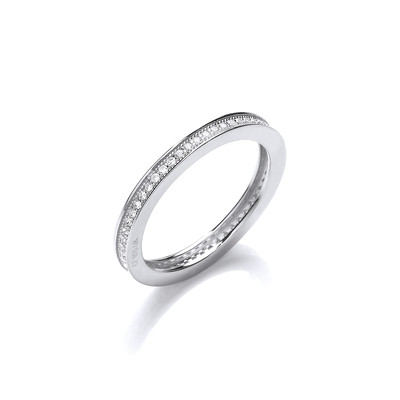 Silver and CZ  Single Row Stacking Ring