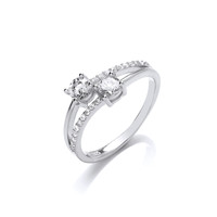 Silver and Cubic Zirconia Twin Solitaire Ring