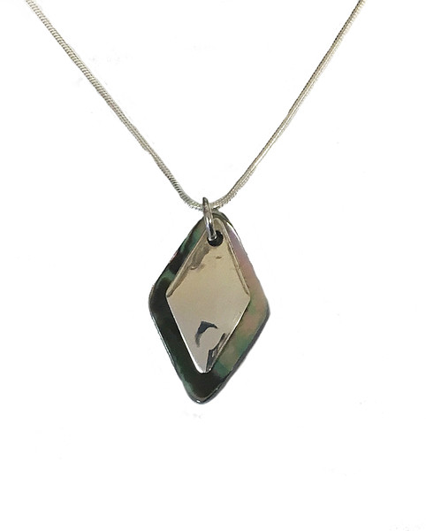 Silver abalone shell diamond pendant with 16-18 silver chain