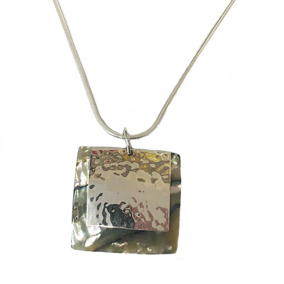 Silver Irridescent square pendant without chain