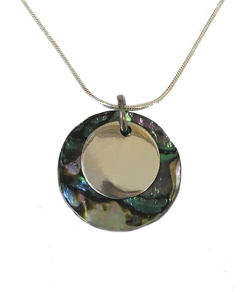 Silver round abalone pendant without chain cavendish french limited silver round abalone pendant without chain mozeypictures Image collections