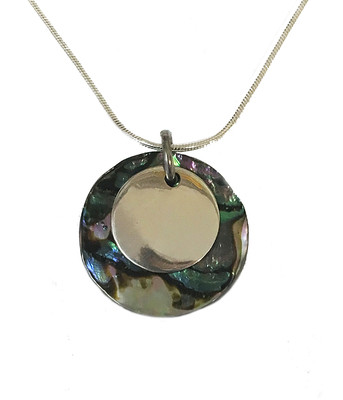 Silver round abalone pendant with 16-18 silver chain