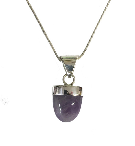 Silver and Amethyst Popsicle Pendant with Silver Chain