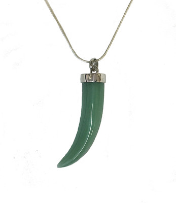 Silver green aventurine horn pendant without chain.