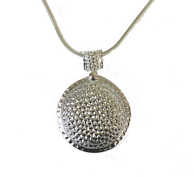 Medallion style silver Dimpled Pendant without chain