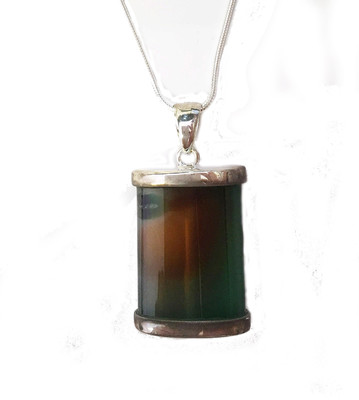 Silver and Green Agate Pendant without Chain