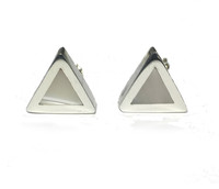 Silver mother of pearl triangular earrings