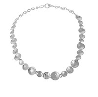 Silver Textured Dishes Necklace