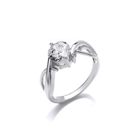'Loving Twist' Cubic Zirconia and Silver Ring