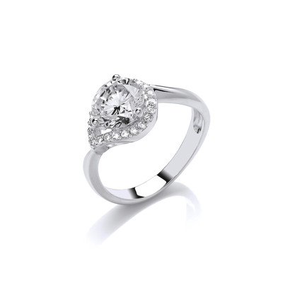 Silver and CZ Twisted Teardop Ring