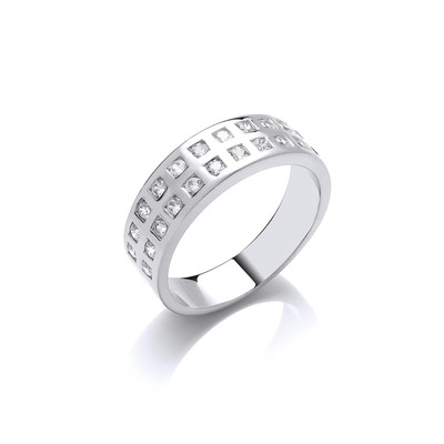 Silver and Double CZ Row Band Ring