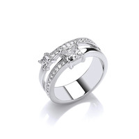 Silver and CZ Princess Ring