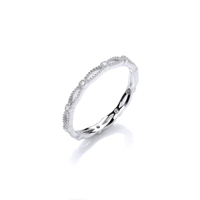 Fine Silver and CZ Curves and Studs Ring