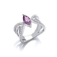 Ornate Silver and Amethyst CZ Butterfly Ring