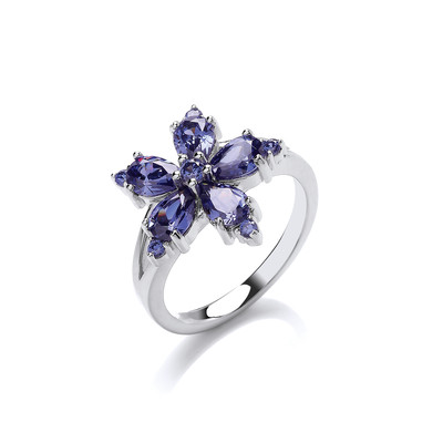 Silver and Tanzanite CZ Flower Ring
