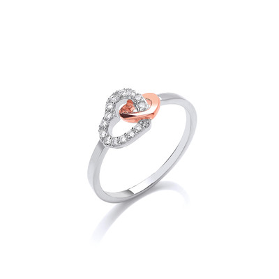 Silver,Rose Gold and CZ Linked Heart Ring