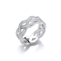 Silver and CZ Weave Band Ring