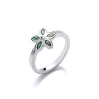 Silver and Moss Green CZ Flower Ring