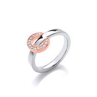 Silver Ring with Rose Gold and CZ Reversible Circle