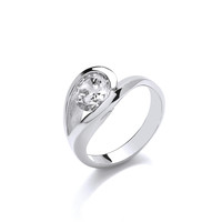 Elegant Silver and CZ Solitaire Eye Ring