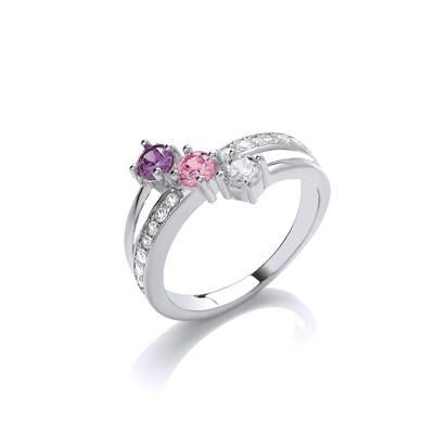 'Pinks and Purples' CZ Solitaires Ring