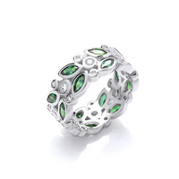 Silver and Green CZ Floral Band Ring