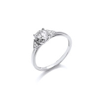 Silver and CZ Solitaire Deco Style Ring
