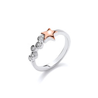 Silver and Rose Gold Shooting Star Ring