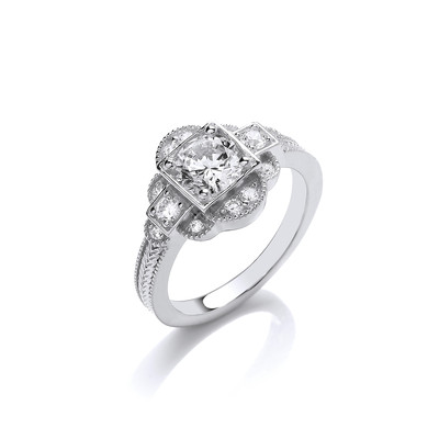 Delightfully Deco Silver and CZ Ring