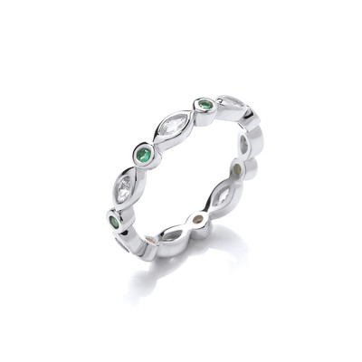 Silver and Green Cubic Zirconia Friendship Ring