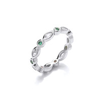 Silver and Green CZ Friendship Ring