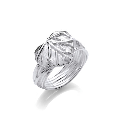 Silver Leaf Heart Ring