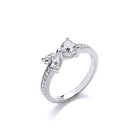 Silver and CZ Bow Ring