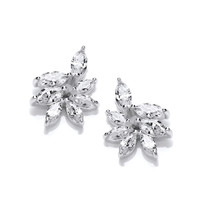 Silver and CZ Iris Stud Earrings