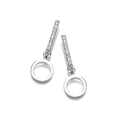 Silver & Cubic Zirconia Circle Drop Earrings