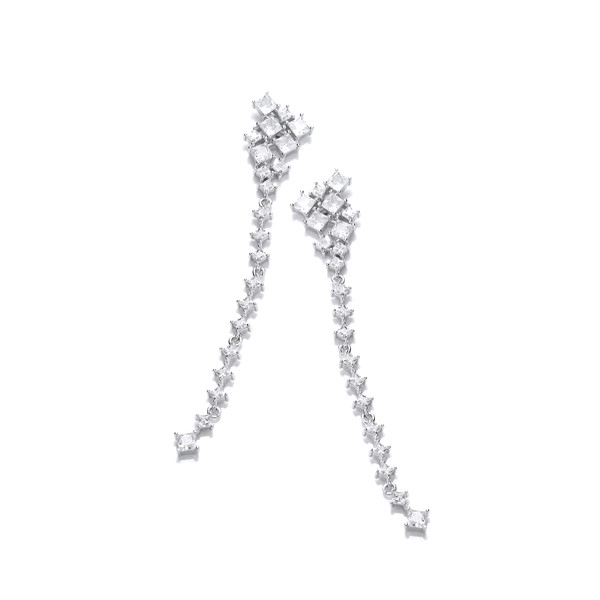 Silver & Cubic Zirconia Constellation Long Drop Earrings