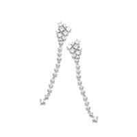 Silver and CZ Constellation Long Drop Earrings