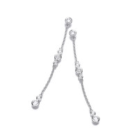 Silver and CZ Bubbles Drop Earrings