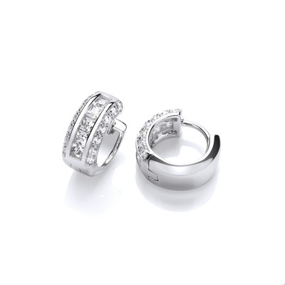 Silver and Channel Set Cubic Zirconia Huggie Earrings