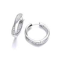Silver and CZ Twisted Hoop Earrings