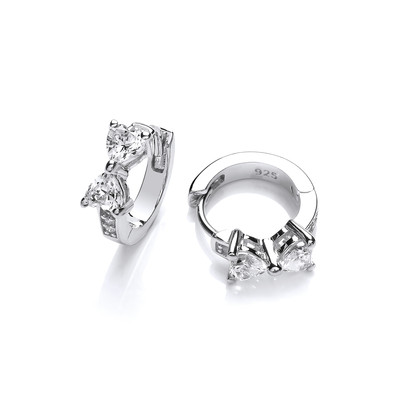 Silver and Cubic Zirconia Bow Huggie Earrings