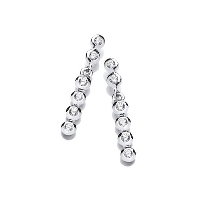 Swaying Silver and Cubic Zirconia Bubble Drop Earrings