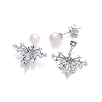 Deco Style Cubic Zirconia and Pearl Butterfly Jacket Earrings