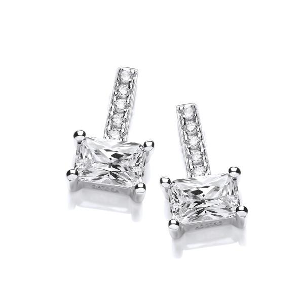 Silver And Emerald Cut Cz Earrings